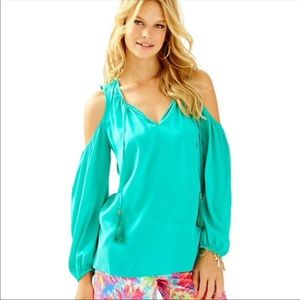 Lilly Pulitzer Turquoise silk cold shoulder blouse
